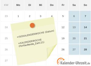 Übersicht der Excel-Formeln für Kalenderwochen