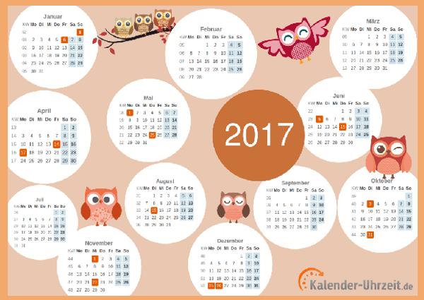Motivkalender 2017 mit Eulen als PDF