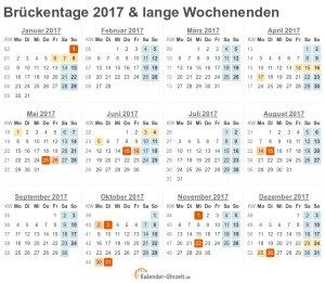 Brückentage 2017 im Kalender