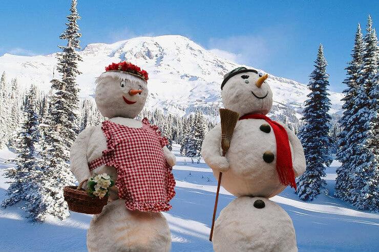 Schneemann mit seiner Schneefrau
