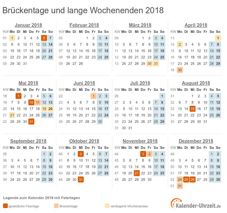 Brückentage 2018 und lange Wochenenden im Kalender