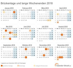 Brückentag 2018 und lange Wochenenden im Kalender 2018