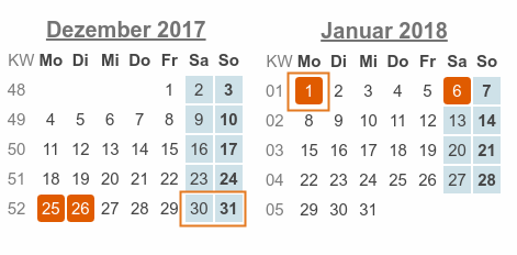 Kalenderblatt: Dezember 2017 / Januar 2018