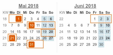 Kalenderblatt: Mai / Juni 2018