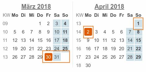 Kalenderblatt: März / April 2018