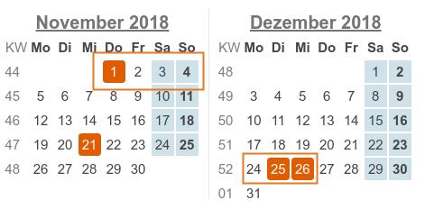 Kalenderblatt: November / Dezember 2018