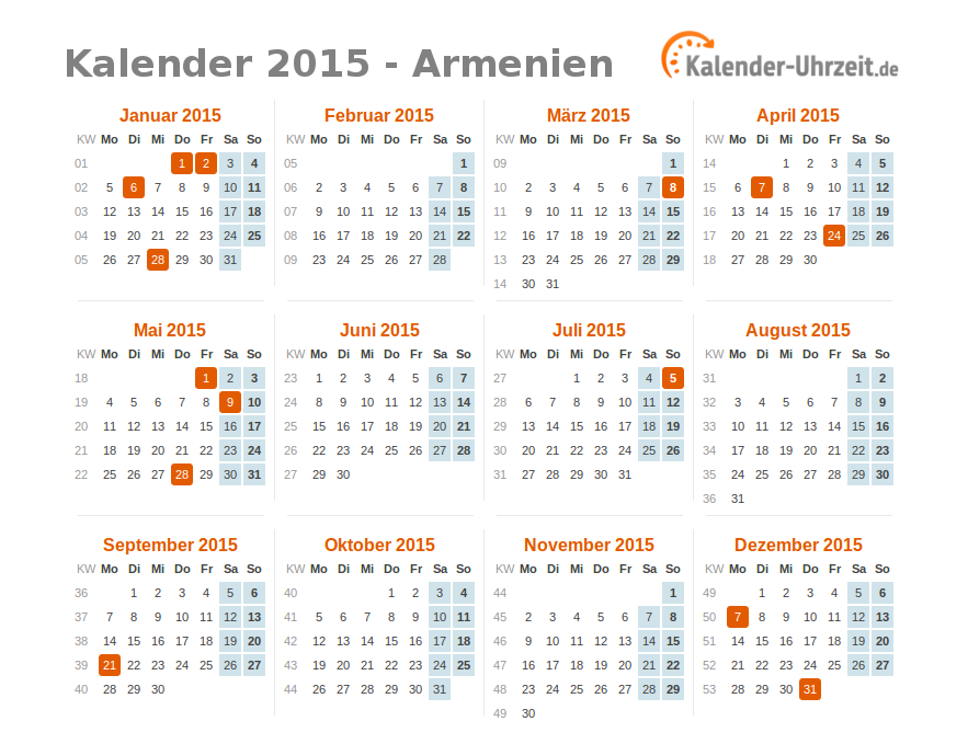 feiertage 2015 armenien kalender bersicht. Black Bedroom Furniture Sets. Home Design Ideas