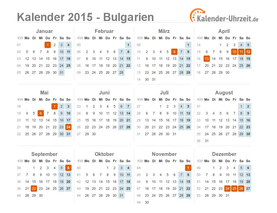 feiertage 2015 bulgarien kalender bersicht. Black Bedroom Furniture Sets. Home Design Ideas