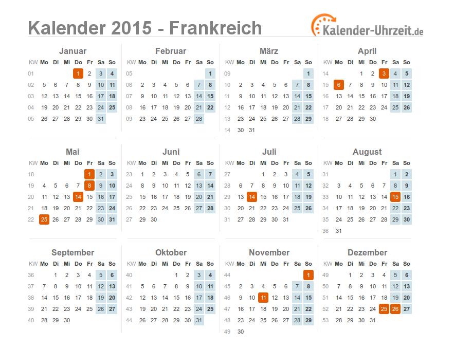 Kalender 2015 Frankreich