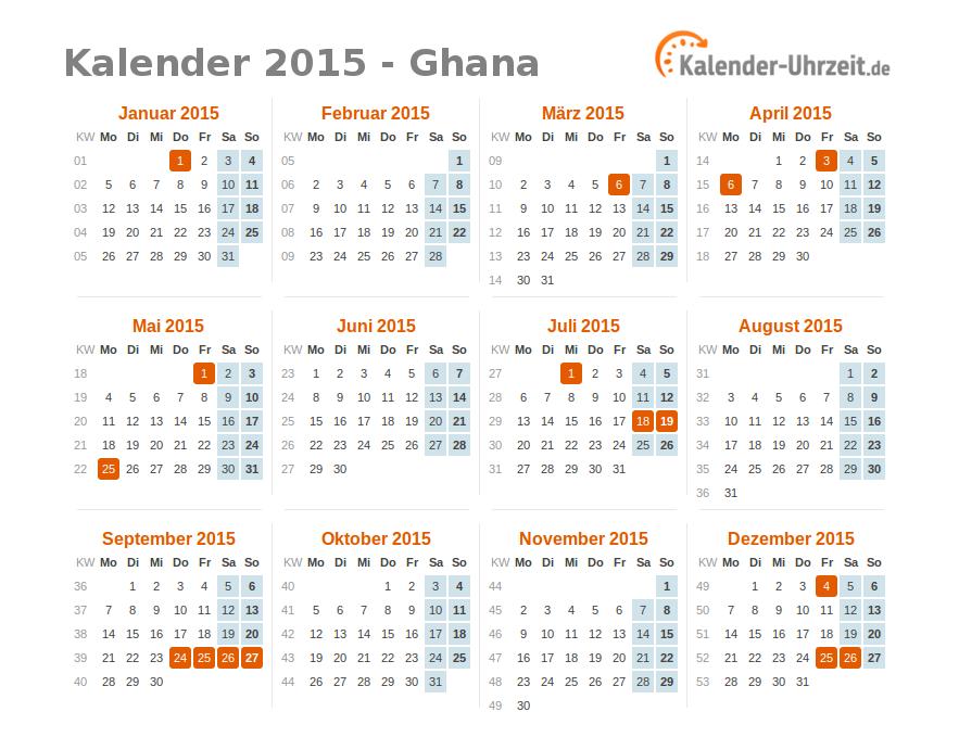feiertage 2015 ghana kalender bersicht. Black Bedroom Furniture Sets. Home Design Ideas