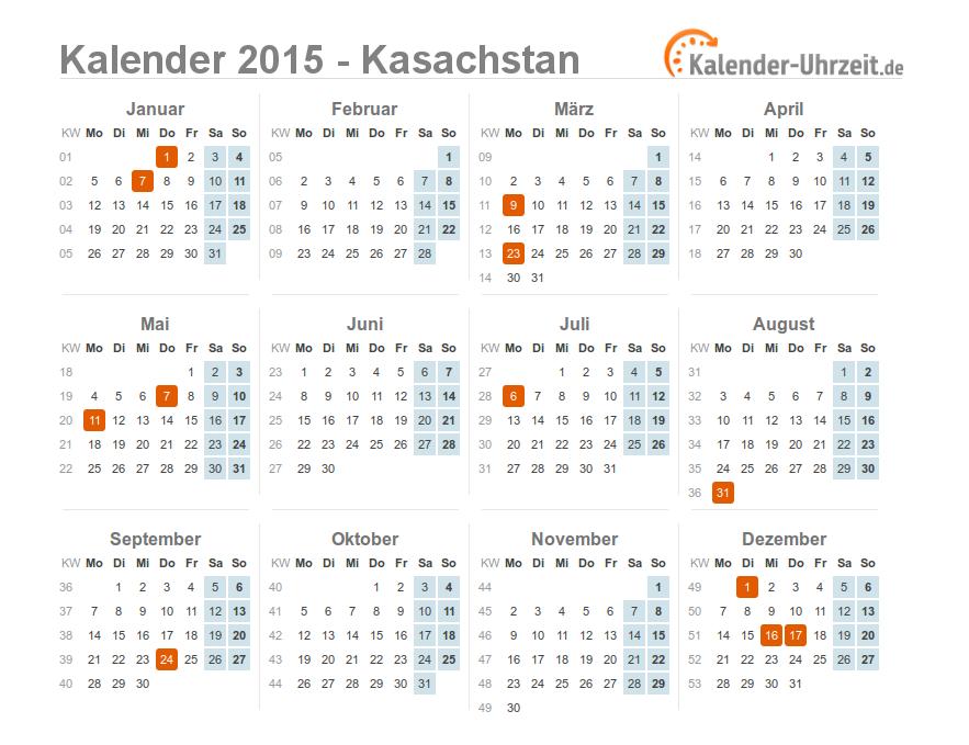 feiertage 2015 kasachstan kalender bersicht. Black Bedroom Furniture Sets. Home Design Ideas