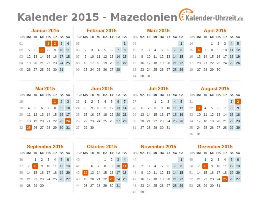 feiertage 2015 mazedonien kalender bersicht. Black Bedroom Furniture Sets. Home Design Ideas