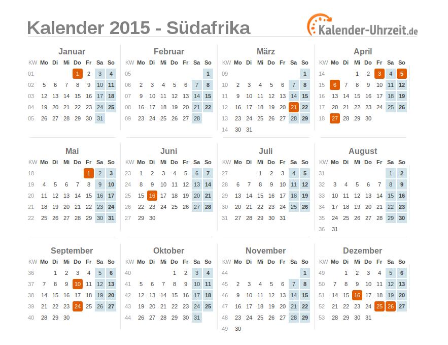 Kalender 2015 Südafrika