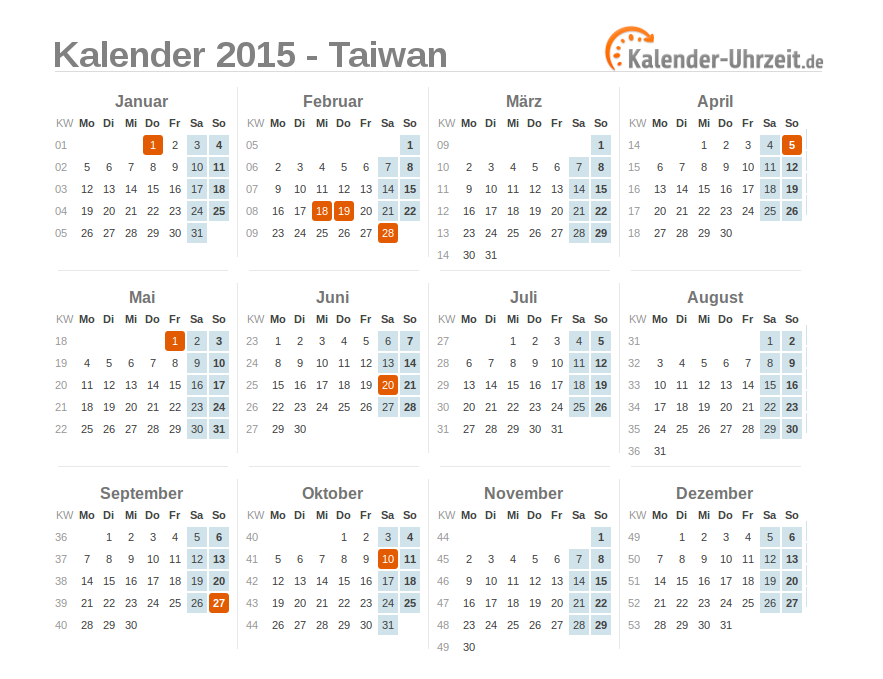 feiertage 2015 taiwan kalender bersicht. Black Bedroom Furniture Sets. Home Design Ideas