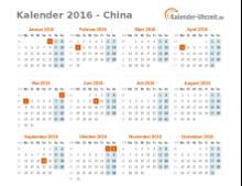 Kalender 2016 China mit Feiertagen