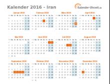 Kalender 2016 Iran mit Feiertagen