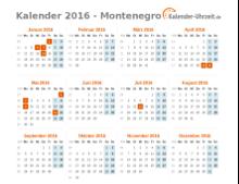Kalender 2016 Montenegro mit Feiertagen