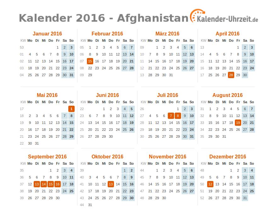 Kalender 2016 Afghanistan mit Feiertagen zum Downloaden und Ausdrucken