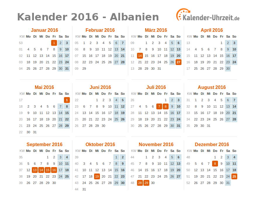 feiertage 2016 albanien kalender bersicht. Black Bedroom Furniture Sets. Home Design Ideas