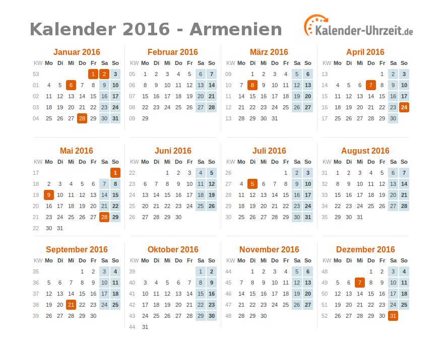 feiertage 2016 armenien kalender bersicht. Black Bedroom Furniture Sets. Home Design Ideas