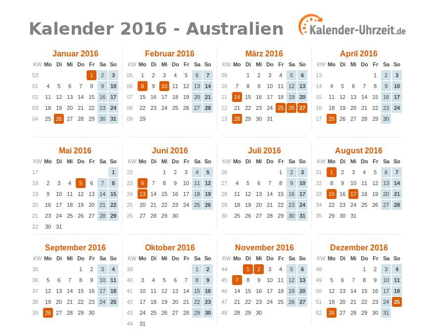 Kalender 2016 Australien