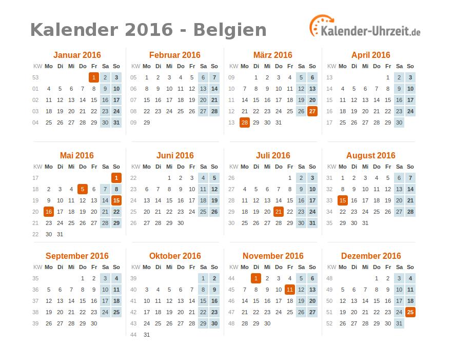 feiertage 2016 belgien kalender bersicht. Black Bedroom Furniture Sets. Home Design Ideas