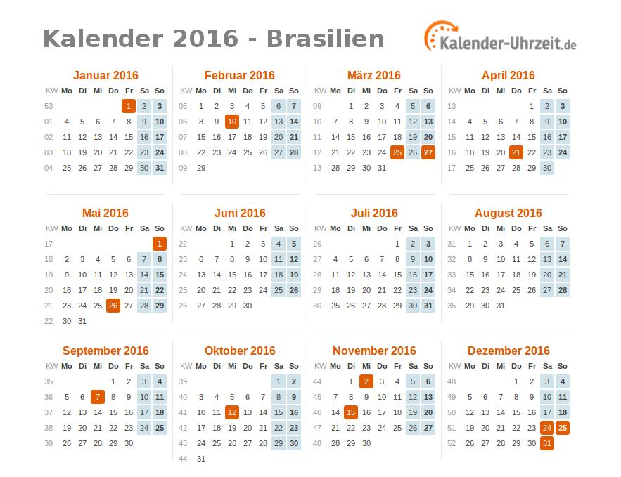 feiertage 2016 brasilien kalender bersicht. Black Bedroom Furniture Sets. Home Design Ideas