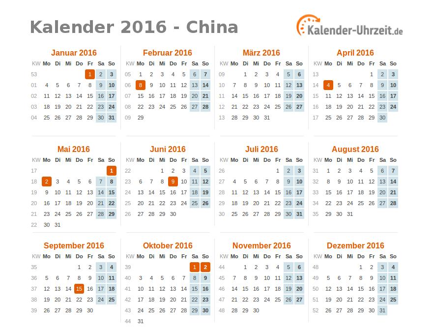 feiertage 2016 china kalender bersicht. Black Bedroom Furniture Sets. Home Design Ideas