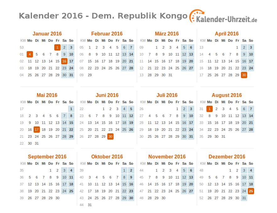 Feiertage 2016 Dem Republik Kongo Kalender übersicht