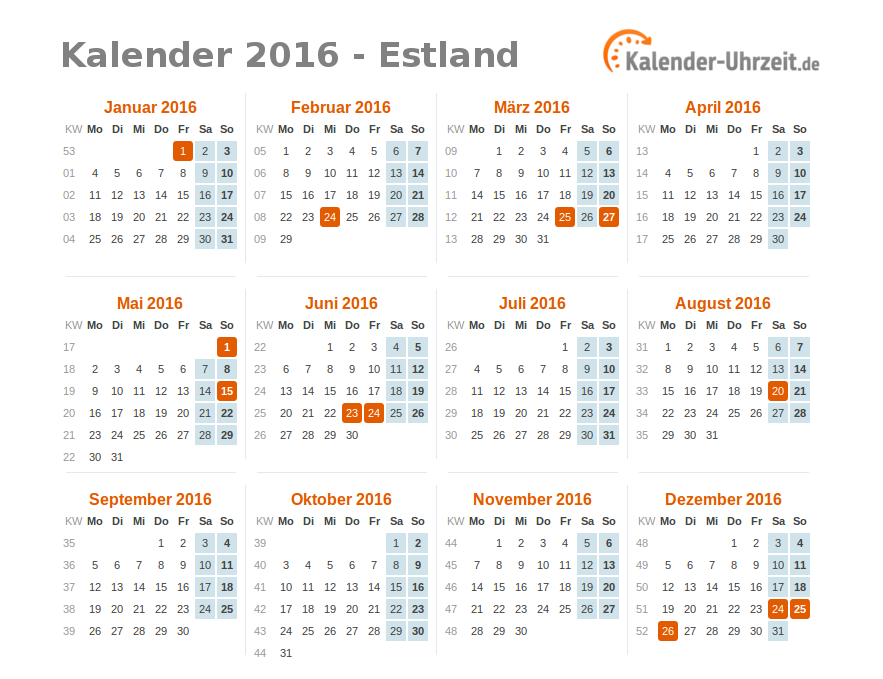 feiertage 2016 estland kalender bersicht. Black Bedroom Furniture Sets. Home Design Ideas
