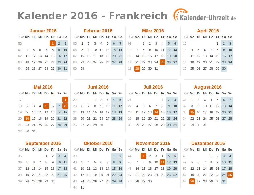 Kalender 2016 Frankreich