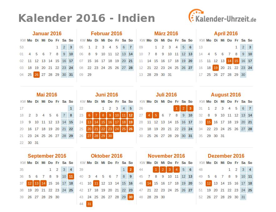 feiertage 2016 indien kalender bersicht. Black Bedroom Furniture Sets. Home Design Ideas