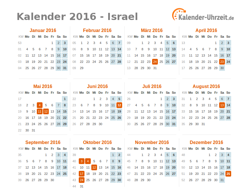 feiertage 2016 israel kalender bersicht. Black Bedroom Furniture Sets. Home Design Ideas