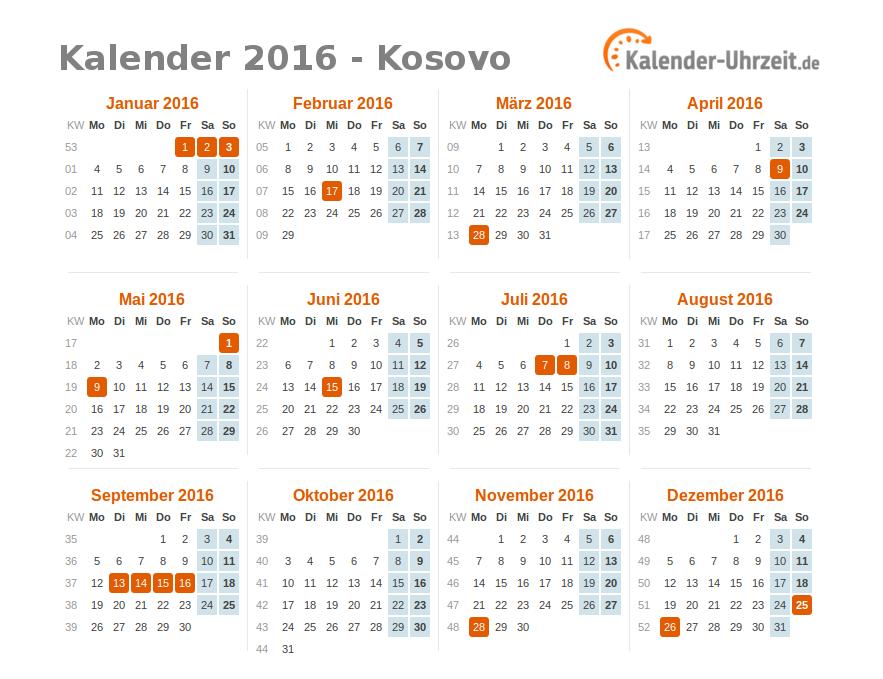 feiertage 2016 kosovo kalender bersicht. Black Bedroom Furniture Sets. Home Design Ideas