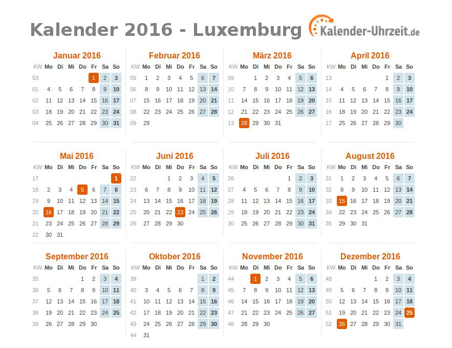 feiertage 2016 luxemburg kalender bersicht. Black Bedroom Furniture Sets. Home Design Ideas