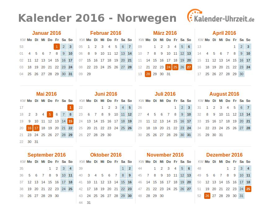 Kalender 2016 Norwegen mit Feiertagen zum Downloaden und Ausdrucken