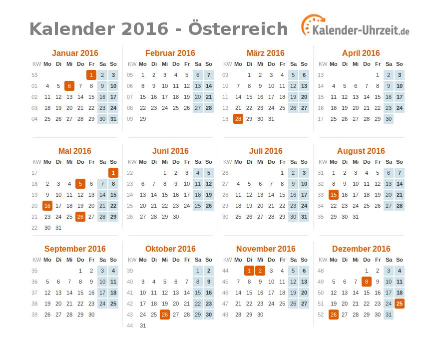 Feiertage 2016 österreich Kalender übersicht