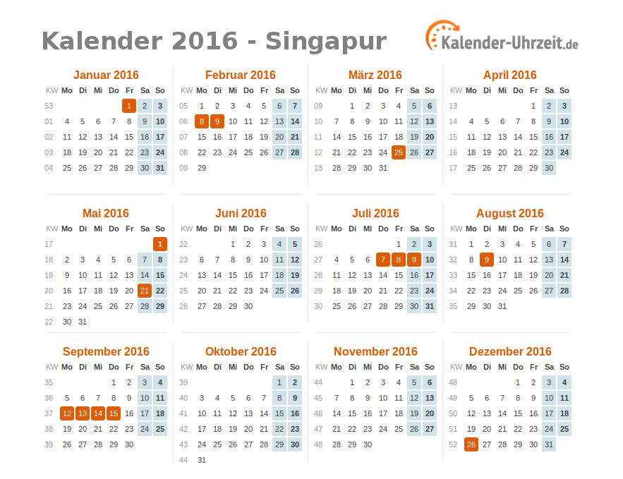 feiertage 2016 singapur kalender bersicht. Black Bedroom Furniture Sets. Home Design Ideas