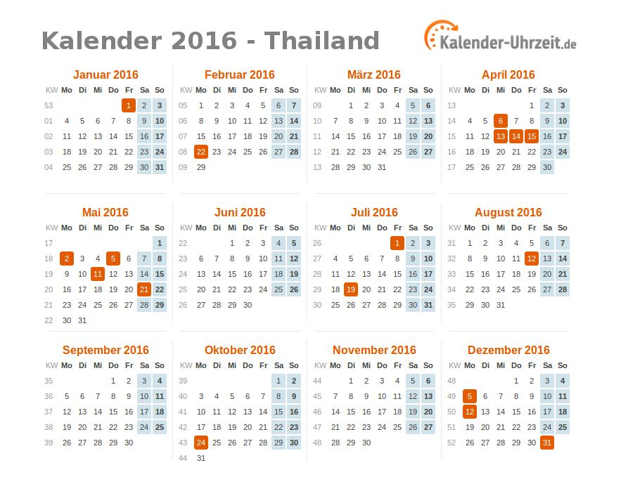 feiertage 2016 thailand kalender bersicht. Black Bedroom Furniture Sets. Home Design Ideas
