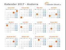 Kalender 2017 Andorra mit Feiertagen
