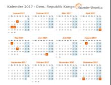 Kalender 2017 Dem. Republik Kongo mit Feiertagen