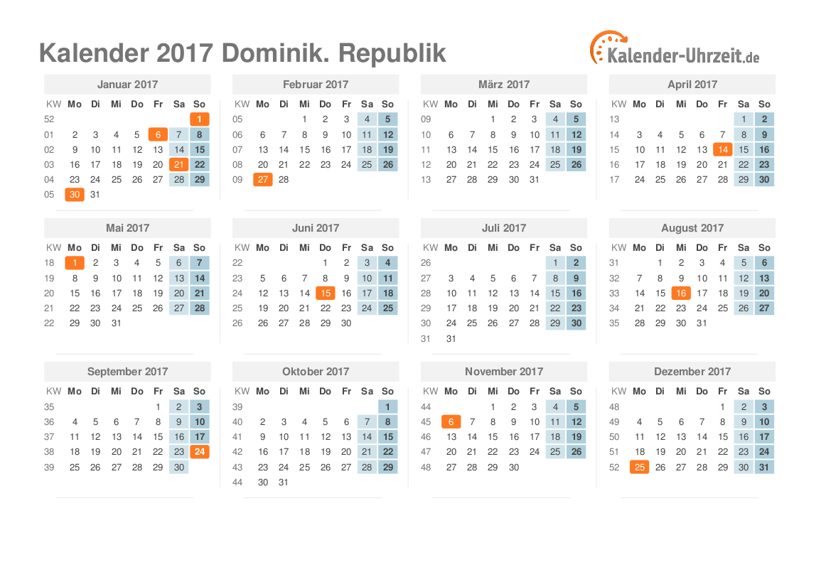 Kalender 2017 Dominik. Republik mit Feiertagen