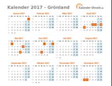 Kalender 2017 Grönland mit Feiertagen