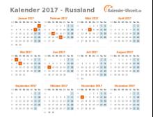Kalender 2017 Russland mit Feiertagen