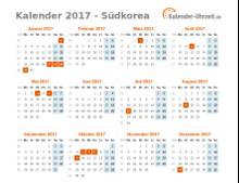 Kalender 2017 Südkorea mit Feiertagen