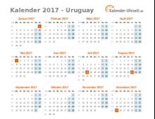 Kalender 2017 Uruguay mit Feiertagen