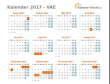 Kalender 2017 VAE mit Feiertagen