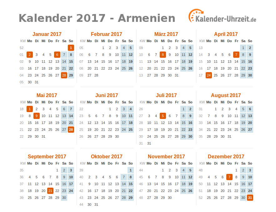 feiertage 2017 armenien kalender bersicht. Black Bedroom Furniture Sets. Home Design Ideas