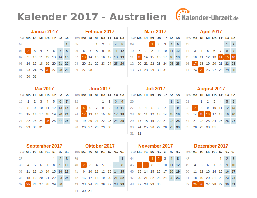 feiertage 2017 australien kalender bersicht. Black Bedroom Furniture Sets. Home Design Ideas