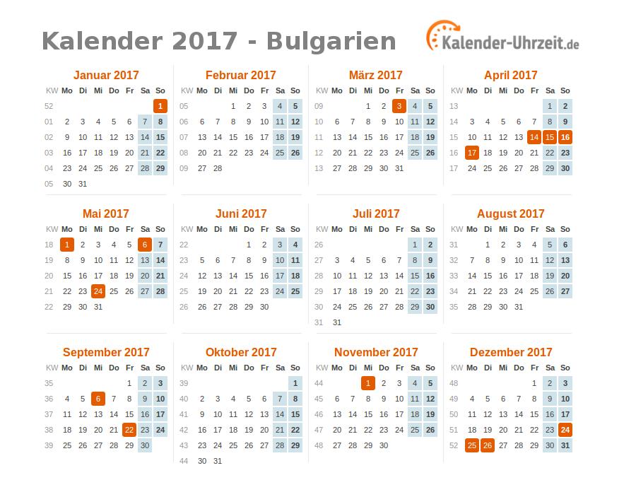 feiertage 2017 bulgarien kalender bersicht. Black Bedroom Furniture Sets. Home Design Ideas